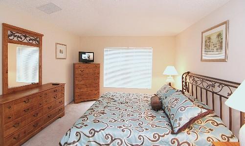 Bedroom-1 King bed, dresser, TV